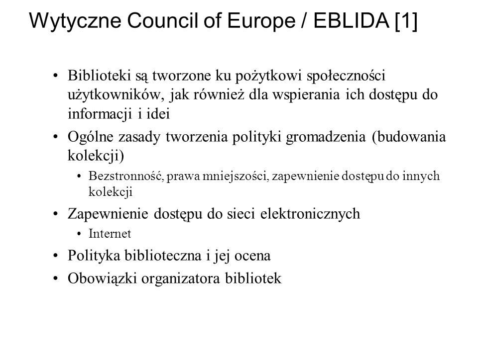 Wytyczne Council of Europe / EBLIDA [1]